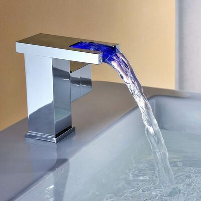 Single Handle Deck Mount LED Waterfall Bathroom Sink Faucet Product Photo