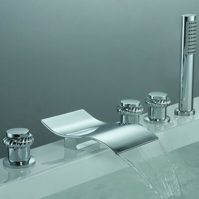 Triple Handle Deck Mount Watefall Tub Faucet with Handshower Product Photo
