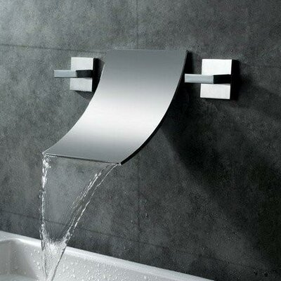 Double Handle Wall Mount Waterfall Bathroom Sink Faucet Product Photo