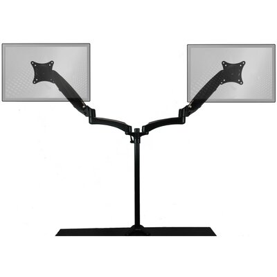 Sit-Stand Extended Air-Assist Monitor Arm Height Adjustable 2 Screen Desk Mount by Home Concept