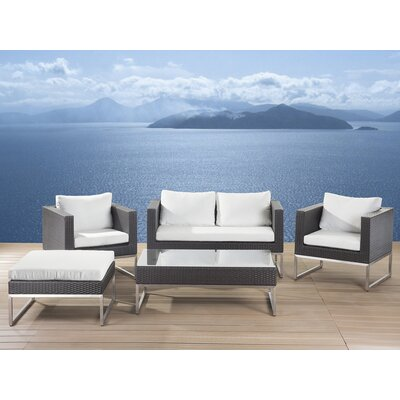 Crema Garden Furniture 5 Piece Deep Seating Group with Cushion by Beliani