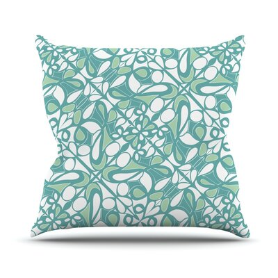 Swirling Tiles Teal Throw Pillow by KESS InHouse