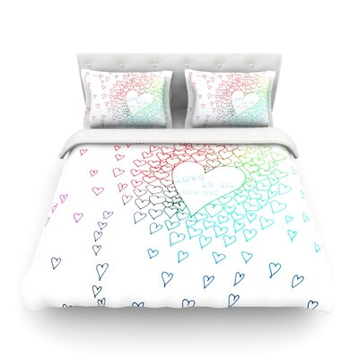 Rainbow Hearts by Monika Strigel Light Cotton Duvet Cover by KESS InHouse