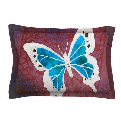 Teal Flutter by Padgett Mason Aqua Cotton Pillow Sham by KESS InHouse