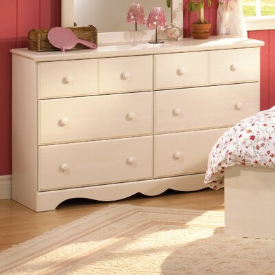 South Shore Summer Breeze White Wash Kids 6 Drawer Double Dresser 3210 027