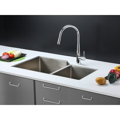 "Gravena 33"" x 20"" Undermount Double Bowl Kitchen Sink Product Photo"