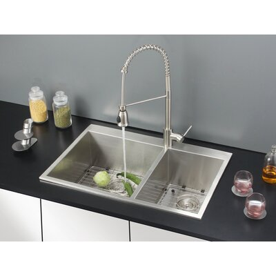 "33"" x 22"" Kitchen Sink with Faucet Product Photo"