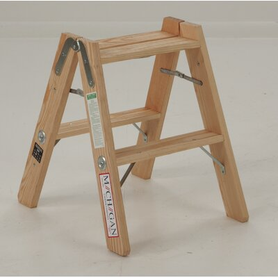 Michigan Ladder Tradesman Double Front 2-Step Wood Double Front Step Stool with 300 lb. Load Capacity