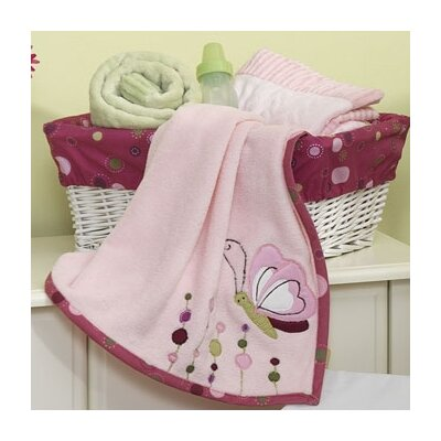 Raspberry Swirl Plush Blanket with Applique by Lambs & Ivy