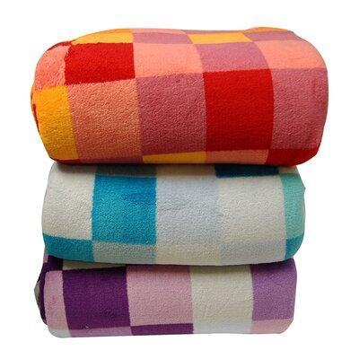 LCM Home Fashions Luxury Printed Check Plush Blanket