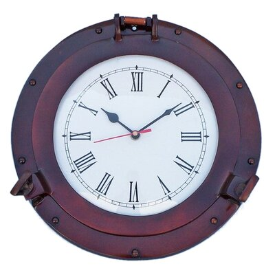 Deluxe Class Porthole 12'' Clock by Handcrafted Nautical Decor
