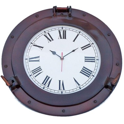 Deluxe Class Porthole 15'' Clock by Handcrafted Nautical Decor