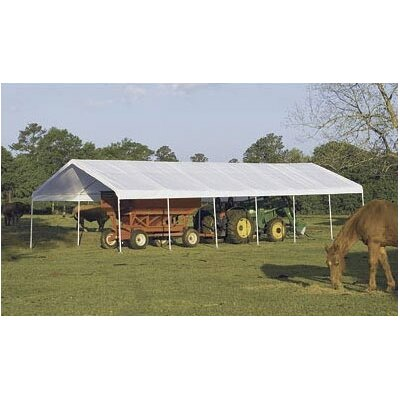 "ShelterLogic 18' x 40' Super Max 2"" Frame 14 Leg Canopy with White Cover"