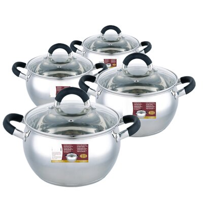 8-Piece Non-Stick Stainless Steel Cookware Set by Meglio