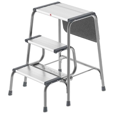Retro 3-Step Aluminum Folding Step Stool with 330 lb. Load Capacity by Hailo USA Inc. ...