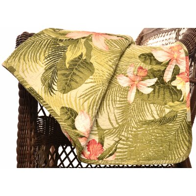 Tommy Bahama Bedding Tropical Orchid Cotton Quilted Throw