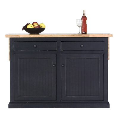 Coastal Kitchen Island with Butcher Block Top Product Photo