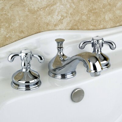 French Country Double Handle Widespread Bathroom Faucet with Brass Pop-Up Drain Product Photo