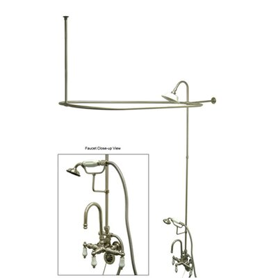 Vintage Triple Handle High Rise Gooseneck Clawfoot Tub and Shower Package Product Photo