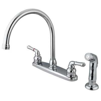 Magellan Double Handle Centerset Kitchen Faucet with Plastic Sprayer by Kingston Brass