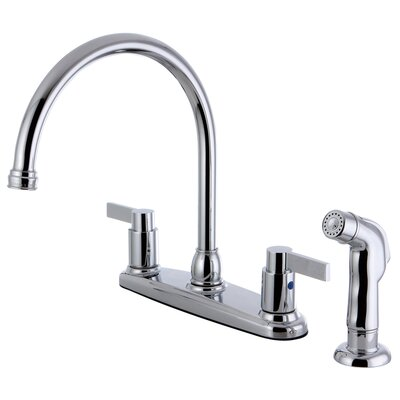 Double Handle Centerset Kitchen Faucet with Side Sprayer Product Photo