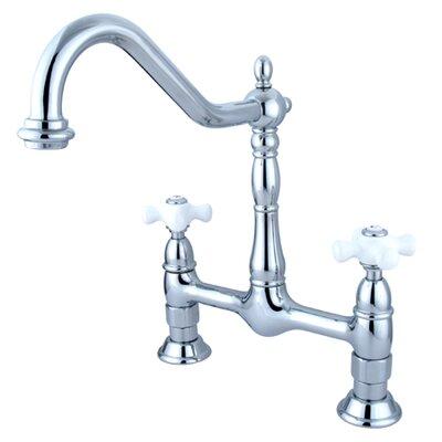 Heritage Double Handle Widespread Bridge Kitchen Faucet by Kingston Brass