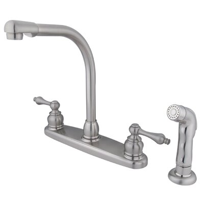 Victorian Double Handle CentersetHigh Arch Kitchen Faucet with Non-Metallic Spray Product Photo