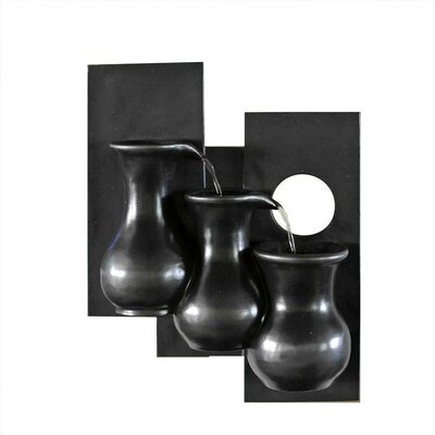 Polyresin and Fiberglass Tiered Three Jugs Wall Fountain by Jeco Inc.