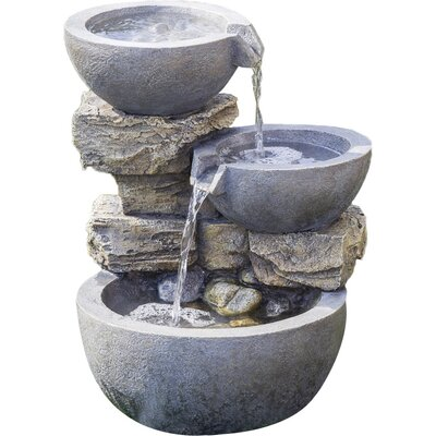Polyresin and Fiberglass Rock and Pot Water Fountain by Jeco Inc.