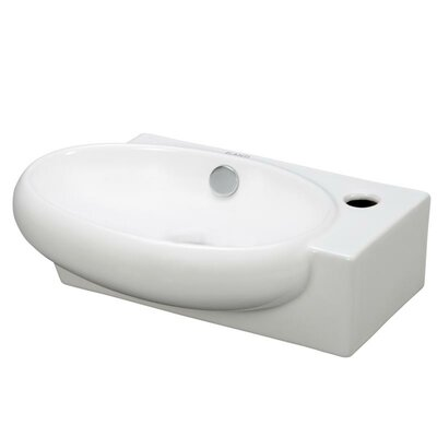 Porcelain Oval Wall Mounted Left Facing Sink by Elanti