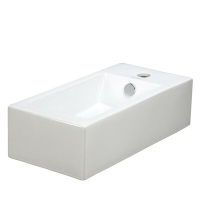 Porcelain Rectangle Wall Mounted Left Facing Sink Product Photo