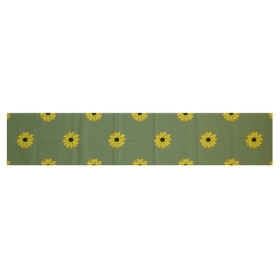 Sunflower Frenzy Floral Print Table Runner by e by design