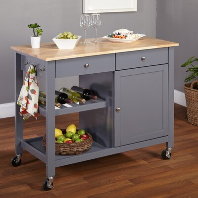 Columbus Kitchen Island with Butcher Block Top Product Photo