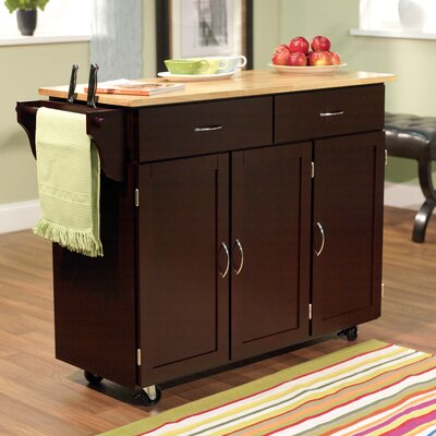 Berkley Kitchen Island with Wooden Top Product Photo
