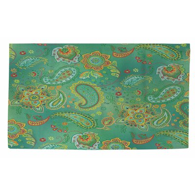 Aqua Bloom Green Paisley Area Rug by Thumbprintz
