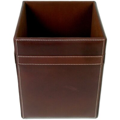 3200 Series Rustic Leather Square Waste Basket by Dacasso