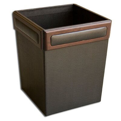 Dacasso 8000 Series Rosewood and Leather Square Waste Basket