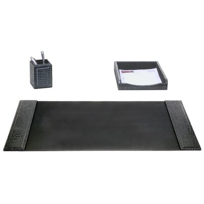 Dacasso Crocodile Embossed Leather 3-Piece Desk Set