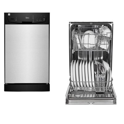"Midea 17.5"" 53 dBA Built-In Dishwasher in Silver Product Photo"