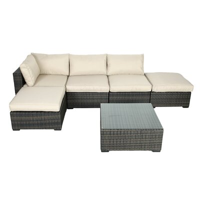 South Hampton 6 Piece Sectional Deep Seating Group with Cushions by Creative Living