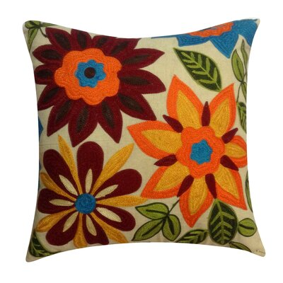 Flower Embroidery Cotton Throw Pillow by Auburn Textile
