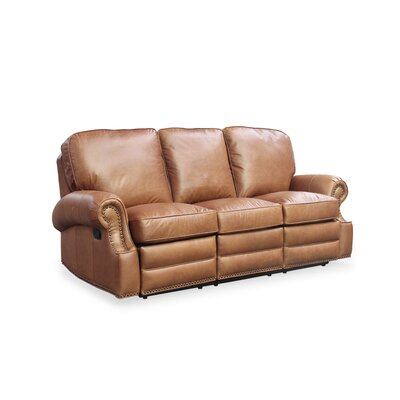 Longhorn Leather Reclining Sofa by Barcalounger