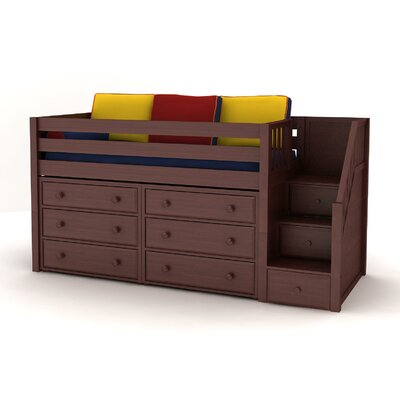 GREAT3 Low Loft Staircase Bed with 6 Storage Drawers by Maxtrix Kids