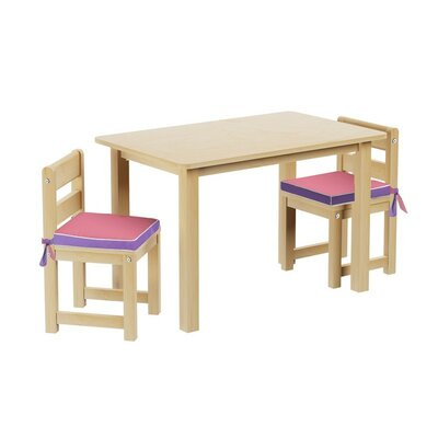 Kids 3 Piece Rectangle Table and Chair Set with Seat Pad by Maxtrix Kids