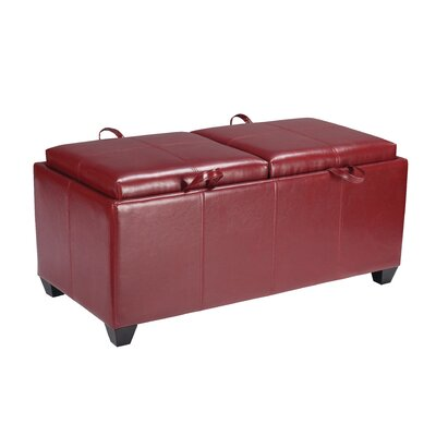 Metro Collection Vinyl Storage Bench with Dual Trays by OSP Designs
