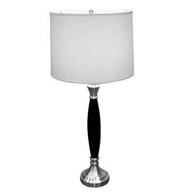 "ORE Furniture Wooden 30"" H Table Lamp with Drum Shade"