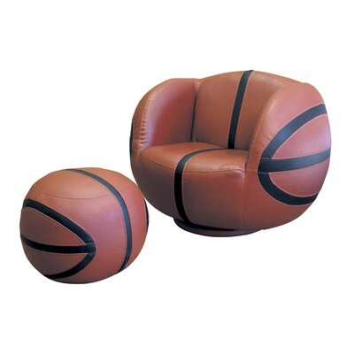 ORE Furniture Basketball Kid's Sports Novlety Chair and Ottoman Set