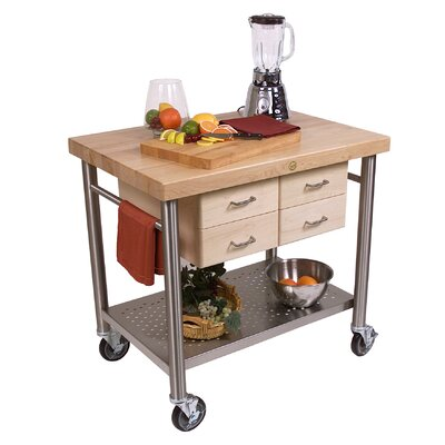 Cucina Americana Kitchen Cart with Wood Top Product Photo
