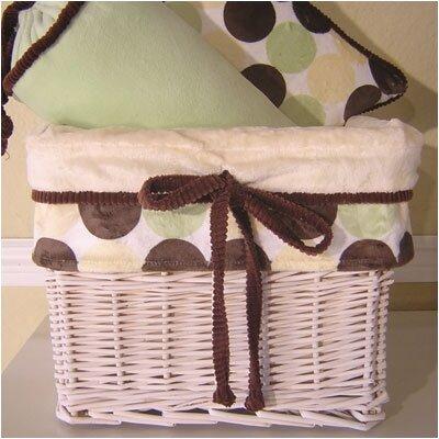 Minky Lemon Chocolate Polka Dot Wicker Basket by Brandee Danielle