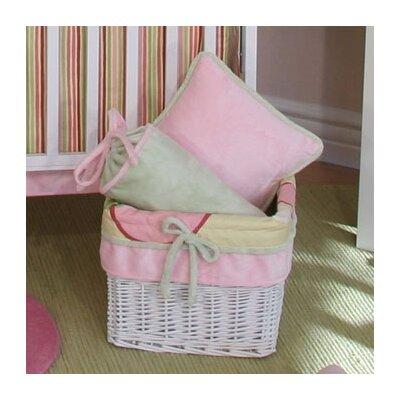 Minky Pink Bubbles Wicker Basket by Brandee Danielle